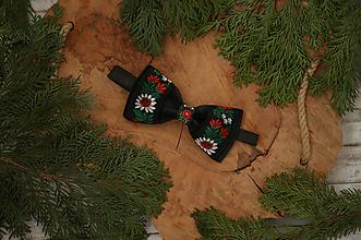 Doplnky - Vianočná akcia: Luxusný zamatový folk motýlik čierny - 10496034_