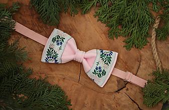 Doplnky - Vianočná akcia: Luxusný zamatový folk motýlik ružový - 10496042_