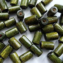 Korálky - Drevený valček 8x4mm-10g (tm.zelená) - 10495884_