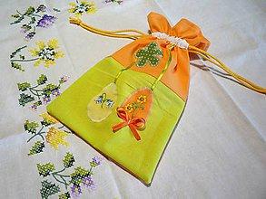 Úžitkový textil - Veľkonočné vrecko - oranžovo-zelené - 10494302_