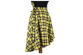 Sukne - asymetrická zavinovacia sukňa (žlté káro) - 10496525_
