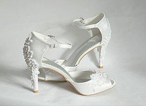 Obuv - Svadobné sandále zdobené krajkou - 10494924_