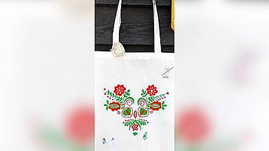 Iné tašky - ♥ Plátená, ručne maľovaná taška ♥ - 10494480_