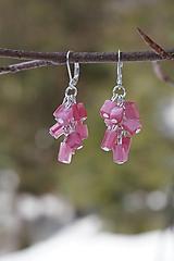 Náušnice - Ružové zlomkové - 10496146_