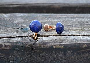 Náušnice - Lapis lazuli pozlátené klipsne - 10495530_