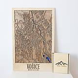 Obrazy - Nástěnná drevena mapa Košice - 10496110_