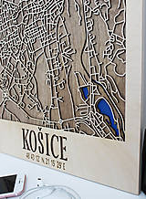 Obrazy - Nástěnná drevena mapa Košice - 10496203_