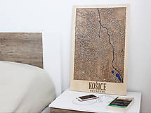 Obrazy - Nástěnná drevena mapa Košice - 10496233_