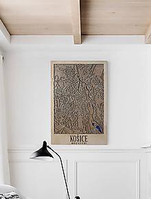 Obrazy - Nástěnná drevena mapa Košice - 10496062_
