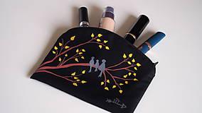 Taštičky - Plátená taštička ručne maľovaná- vtáčia rodina - 10495247_