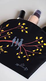 Taštičky - Plátená taštička ručne maľovaná- vtáčia rodina - 10495263_