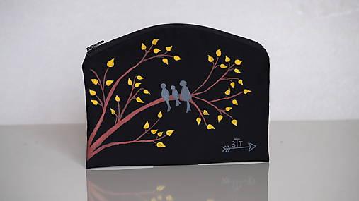 Plátená taštička ručne maľovaná- vtáčia rodina