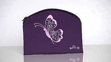 Taštičky - Plátená taštička ručne maľovaná- motýlik - 10495121_