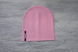 Detské súpravy - Set čiapka s menom + nákrčník Elastic- 21 odtieňov (tmavomodrý  štítok) - 10495273_