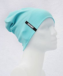 Detské čiapky - Čiapka Elastic tyrkis/mentol s menom - 10495340_