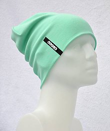 Detské čiapky - Čiapka Elastic mint s menom - 10495360_