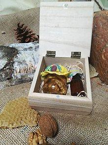 Potraviny - Orechy v agátovom mede a propolis v drevenej krabičke - 10496727_