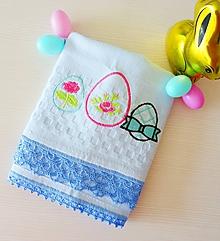 Úžitkový textil - Veľkonočná vaflová utierka, pastelová modrá - 10496171_