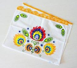 Úžitkový textil - Utierka s folkovým motívom a krajkou - 10496223_