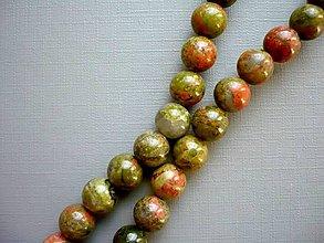 Minerály - Vrtané korálky 9 mm - unakit, 2 ks - 10495381_