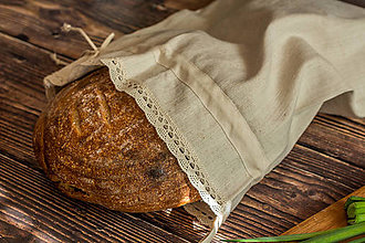 Úžitkový textil - Vrecko na chlieb z ručne tkaného plátna - 10493867_
