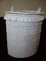 Košíky - Biely rohový kôš na prádlo rovný - 10495492_