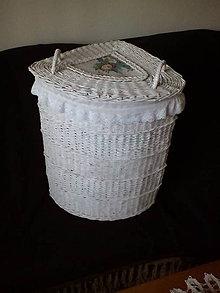 Košíky - Biely rohový kôš na prádlo rovný - 10495508_