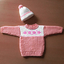 Detské súpravy - Štrikované detské oblečenie pre dievčatko s kvietkami - 10494673_