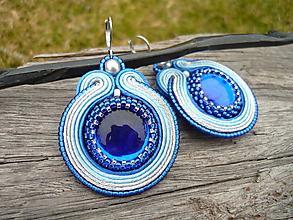 Náušnice - Soutache náušnice Blue&Silver - 10497872_