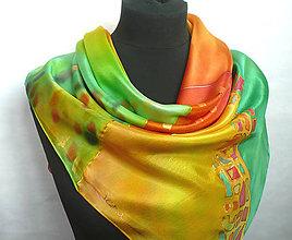 Šatky - Karneval barev. Hedvábný šátek. - 10498053_