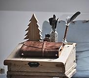 Papiernictvo - Kombinovaný kožený zápisník BAUDIER - 10497746_