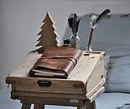Papiernictvo - Kombinovaný kožený zápisník BAUDIER - 10497750_
