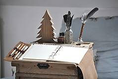 Papiernictvo - Kombinovaný kožený zápisník BAUDIER - 10497751_