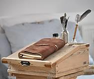 Papiernictvo - Kombinovaný kožený zápisník BAUDIER - 10497753_