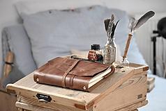 Papiernictvo - Kombinovaný kožený zápisník BAUDIER - 10497754_