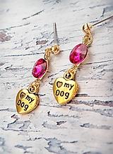 Náušnice - pre milovníkov psíkov pozlátené náušničky - 10499351_