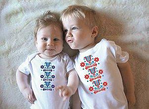 Detské oblečenie - tričko a body s ľudovým motívom - 10499935_