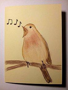 Papiernictvo - Pohľadnica Vtáčik speváčik - 10499060_