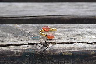 Prstene - Slnečný kameň pozlátený prsteň Ag - 10497816_
