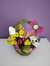 Dekorácie - Jarný košík s kuriatkami - 10499237_