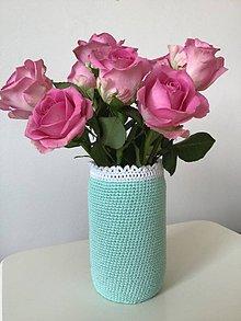 Dekorácie - Háčkovaná váza ( mint) - 10497850_