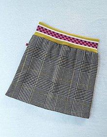 Detské oblečenie - Károvaná sukňa (čiernobiely vzor glenček s jemným žltým prúžkom) - 10497698_
