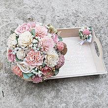 Kytice pre nevestu - Svadobná kytica zo suchých kvetov, ružovo krémová - 10501103_
