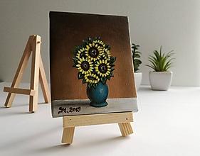 Obrazy - Slnečnice - miniatúrna maľba - 10500342_
