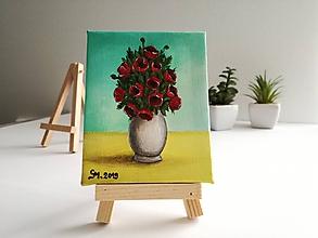 Obrazy - Vlčie maky vo váze - miniatúrna maľba - 10500346_