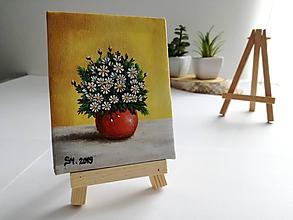 Obrazy - Margarétky vo váze - miniatúrna maľba - 10500364_
