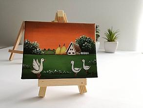 Obrazy - Na zelenej tráve - miniatúrna maľba - 10500395_