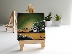 Obrazy - Zelená sa - miniatúrna maľba - 10500425_