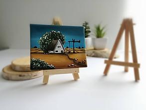Obrazy - Pri studni je domček - miniatúrna maľba - 10500445_