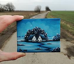 Obrazy - Modrá - miniatúrna maľba - 10500501_